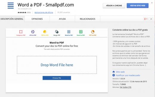 Extensión de Chrome para convertir archivos Word a PDF