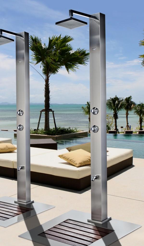 C mo instalar una ducha en la piscina exterior - Duchas solares para piscinas ...