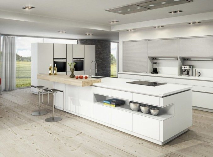 Cocinas Modernas En Blanco Y Gris. Beautiful Cocina Blanco Brillo ...