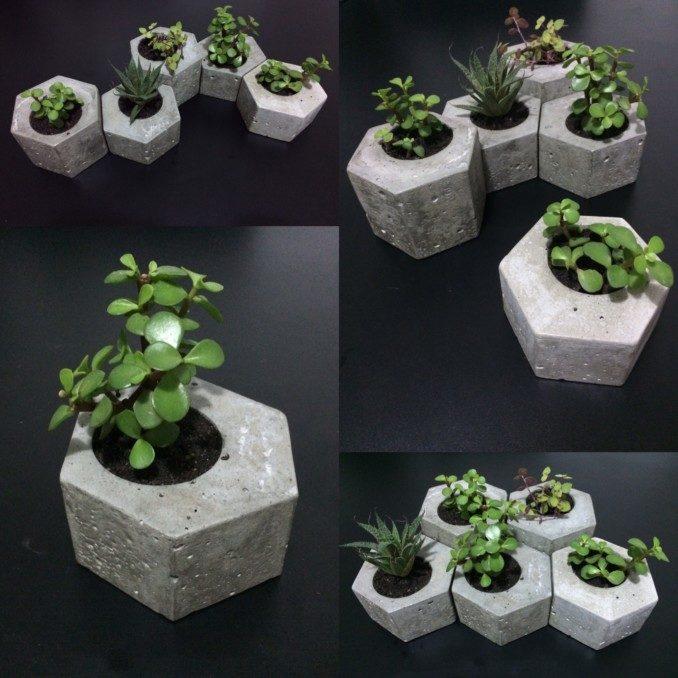 Como hacer macetas de cemento concreto u hormig n - Como decorar macetas con piedras ...