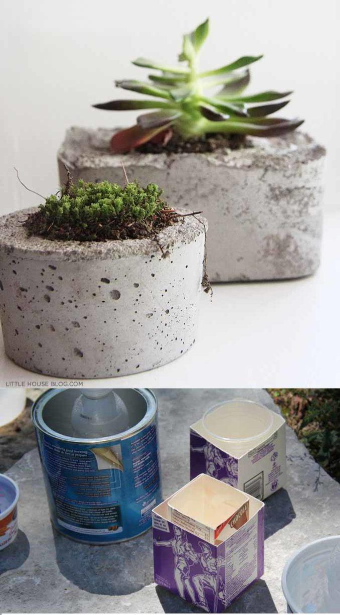 Como hacer macetas de cemento concreto u hormig n - Como hacer hormigon a mano ...