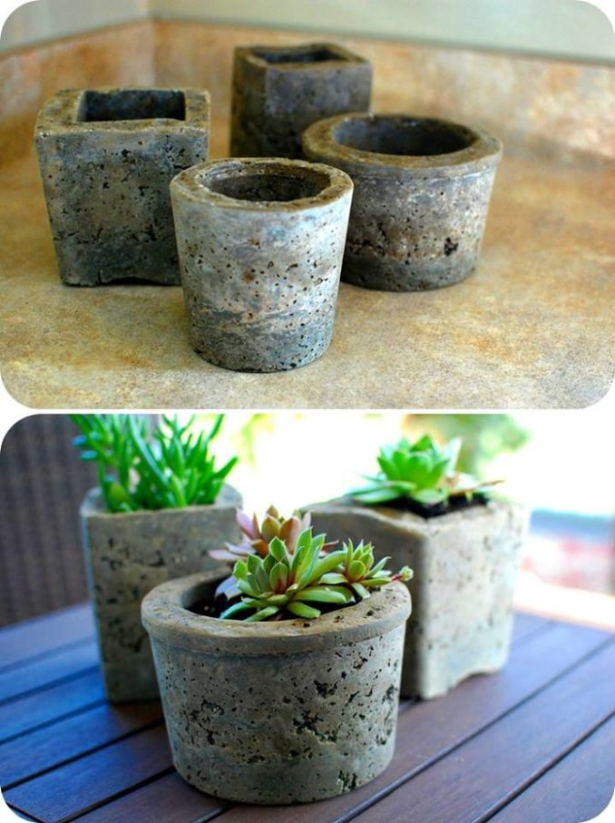 Como hacer macetas de cemento concreto u hormig n - Como hacer cemento ...