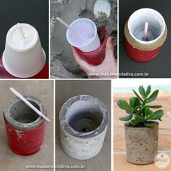Como hacer macetas de cemento concreto u hormig n - Macetas para cocina ...