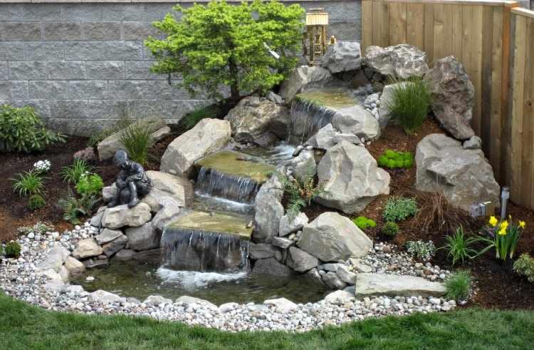 Dise o y decoraci n de jardines peque os y modernos 90 - Fuentes de pared de piedra ...