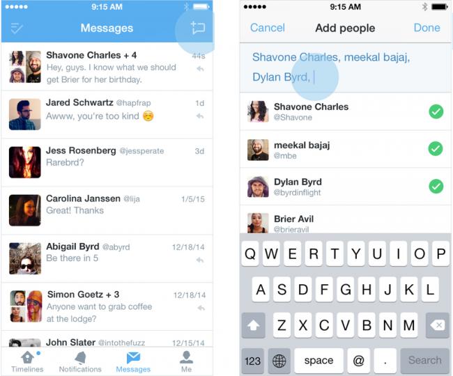 Twitter mensajes en grupo