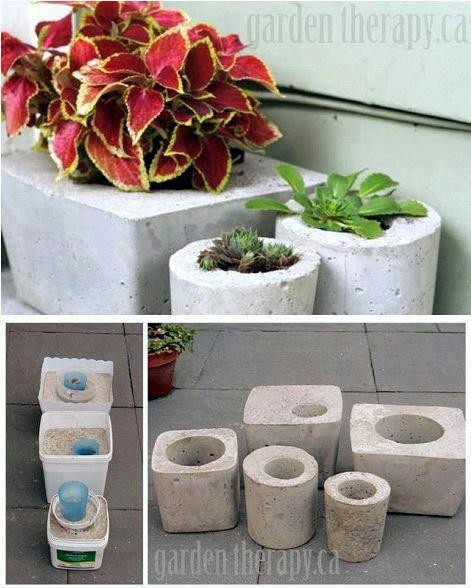 Como hacer macetas de cemento concreto u hormig n - Como hacer maceteros ...