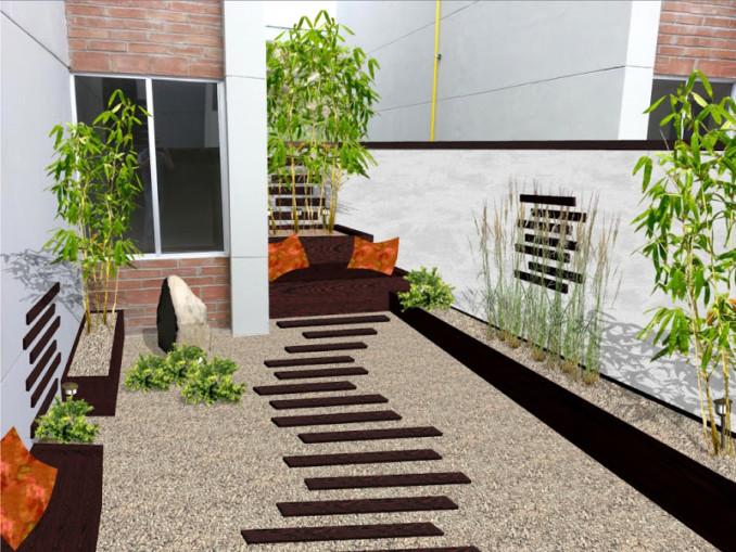 Dise o y decoraci n de jardines peque os y modernos 90 - Jardines modernos con piedras ...