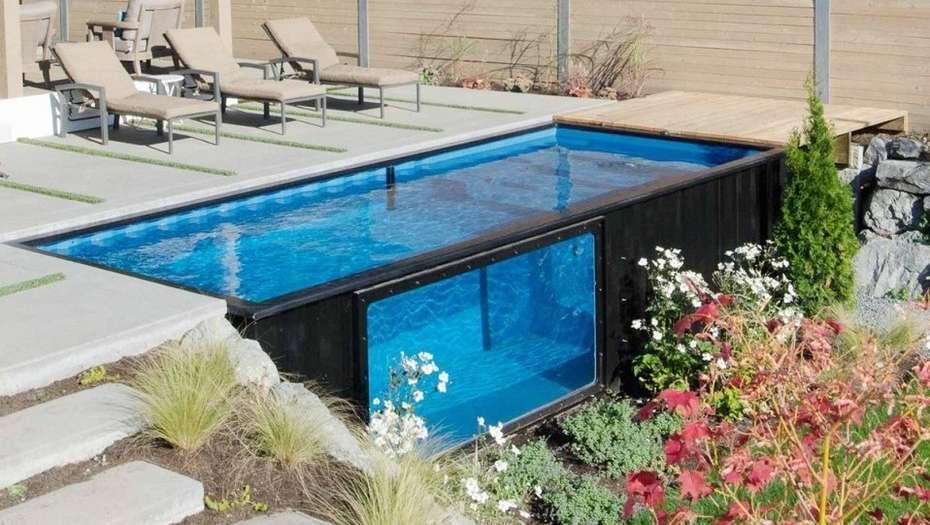 Containers reciclados c mo pileta de nataci n instalados for Como hacer una pileta de natacion