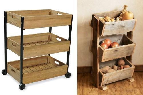 C mo hacer objetos de dise o con cajones de madera reciclados - Como hacer estantes de cocina ...