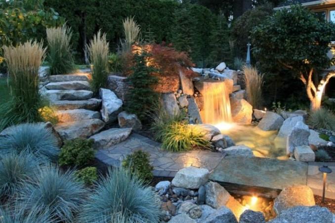 Instalar jardines con piedras y cascadas muy naturales for Cascadas en piedra para jardines